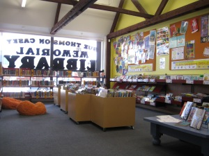 The children's section is well lit by plate glass windows