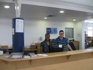 Thembi and Henlou at Circulation Desk