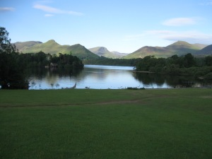 Derwent Water  from the sheep meadow where plucky black lambs frolic