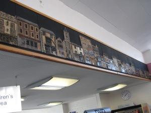 Town buildings in relief