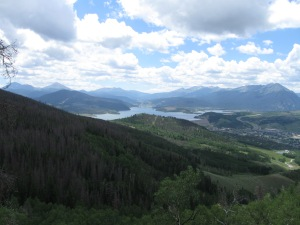 Looking down on Silverthorne and Lake Dillon from the Angler MountainTrail