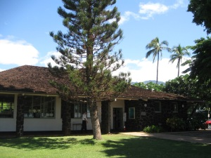 Lahaina Public Library with friendly Carlos on duty