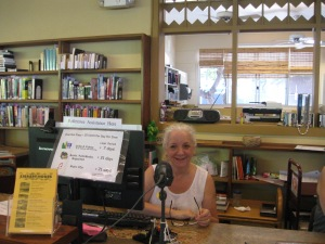 Madeleine at the circulation desk