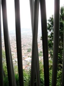 Views of the urban sprawl far below