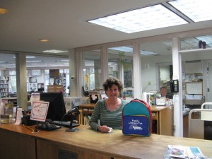Kathy at the Circ Desk