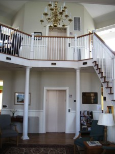 Elevator makes the upstairs balcony accessible to all